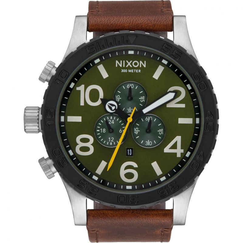 Mens Nixon The 51-30 Chrono Leather Chronograph Watch A124-2334