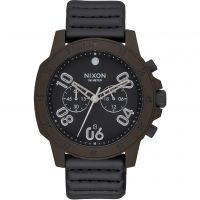 Mens Nixon The Ranger Chrono leather Chronograph Watch