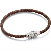 Mens Fred Bennett Stainless Steel & Leather Bracelet B4727