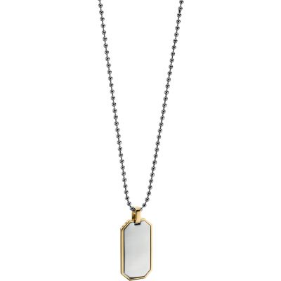 Mens Fred Bennett Two-tone steel/gold plate Dog Tag Necklace N4005