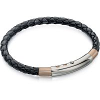 Mens Fred Bennett Two-Tone Steel and Rose Plate Leather Bracelet B4687
