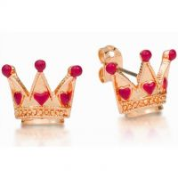 Ladies Disney Couture Gold Plated Alice in Wonderland Queen of Hearts Stud Earrings DRE0724