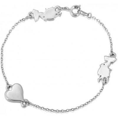Ladies Disney Couture Silver Plated Alice in Wonderland Heart Bracelet DSB078