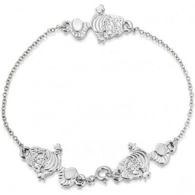 Ladies Disney Couture Silver Plated Alice in Wonderland Cheshire Cat Bracelet DSB075