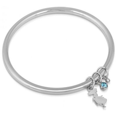 Ladies Disney Couture Silver Plated Alice in Wonderland Crystal Bangle DSB032