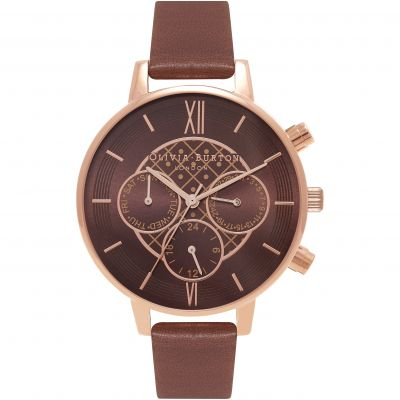 Montre Chronographe Femme Olivia Burton Chrono Detail Rose Gold & Brown OB16CG84