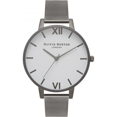 Big Dial Gunmetal Mesh Watch