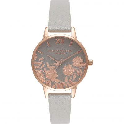 Montre Femme Olivia Burton Lace Detail Silver Rose Gold & Grey OB16MV58
