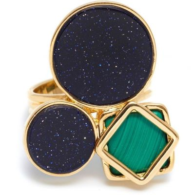 Damen Lola Rose Malachite & Blue Sandstone Garbo Cluster Ring vergoldet 583916
