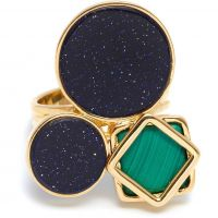 Ladies Lola Rose Gold Plated Malachite & Blue Sandstone Garbo Cluster Ring 583916