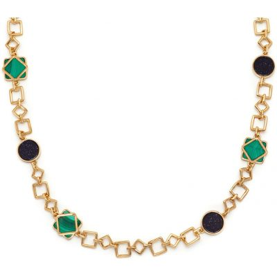 Damen Lola Rose Malachite & Blue Sandstone Garbo Link Halskette vergoldet 584166