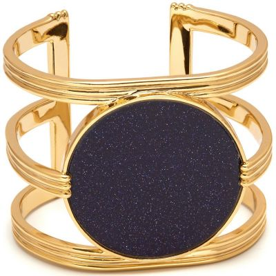Damen Lola Rose Blue Sandstone Garbo Statement Cuff vergoldet 583336