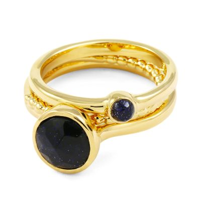 Ladies Lola Rose Gold Plated Blue Sandstone Nerio Ring Set 582711