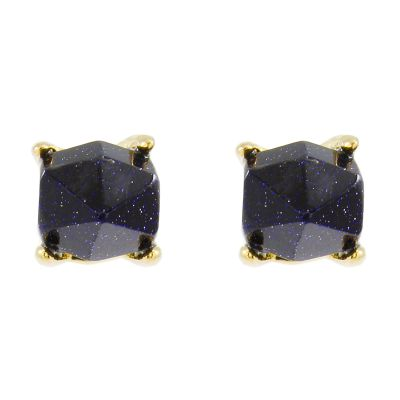 Ladies Lola Rose Gold Plated Blue Sandstone Perla Earrings 582445