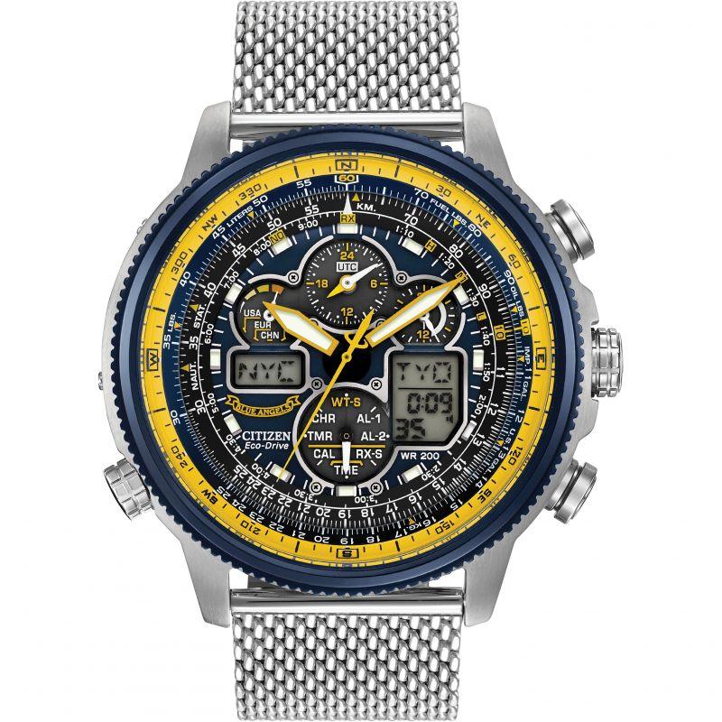 Mens Citizen Navihawk A-T Blue Angels Alarm Chronograph Radio Controlled Watch