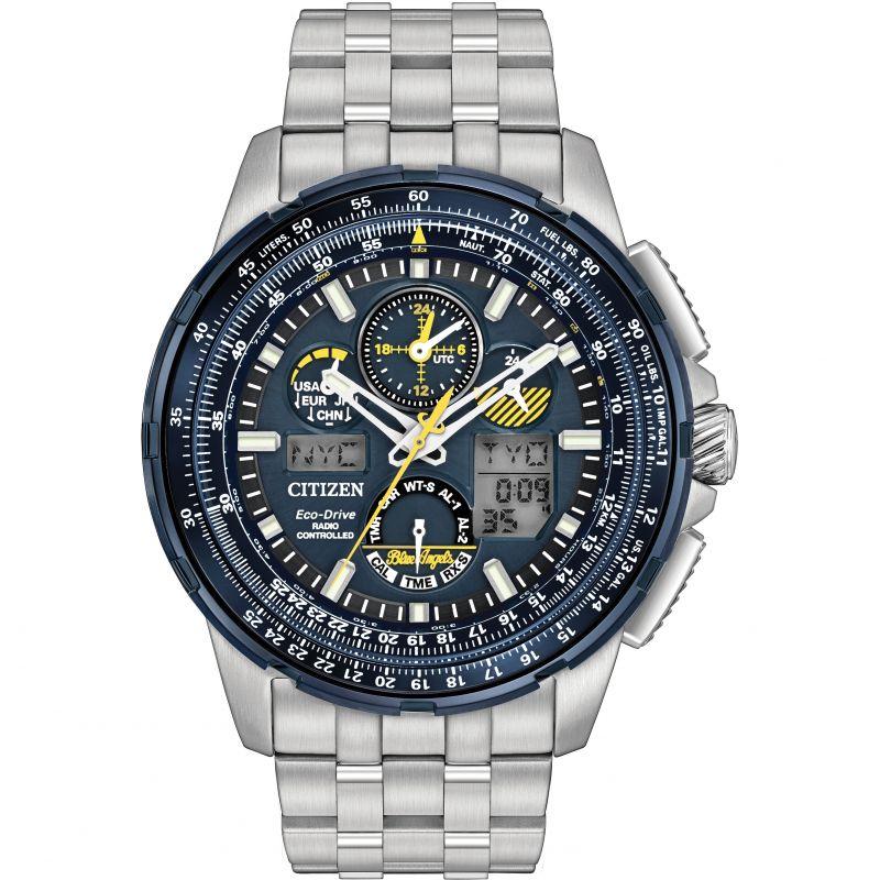 Mens Citizen Skyhawk A-T Blue Angels Alarm Chronograph Radio Controlled Watch