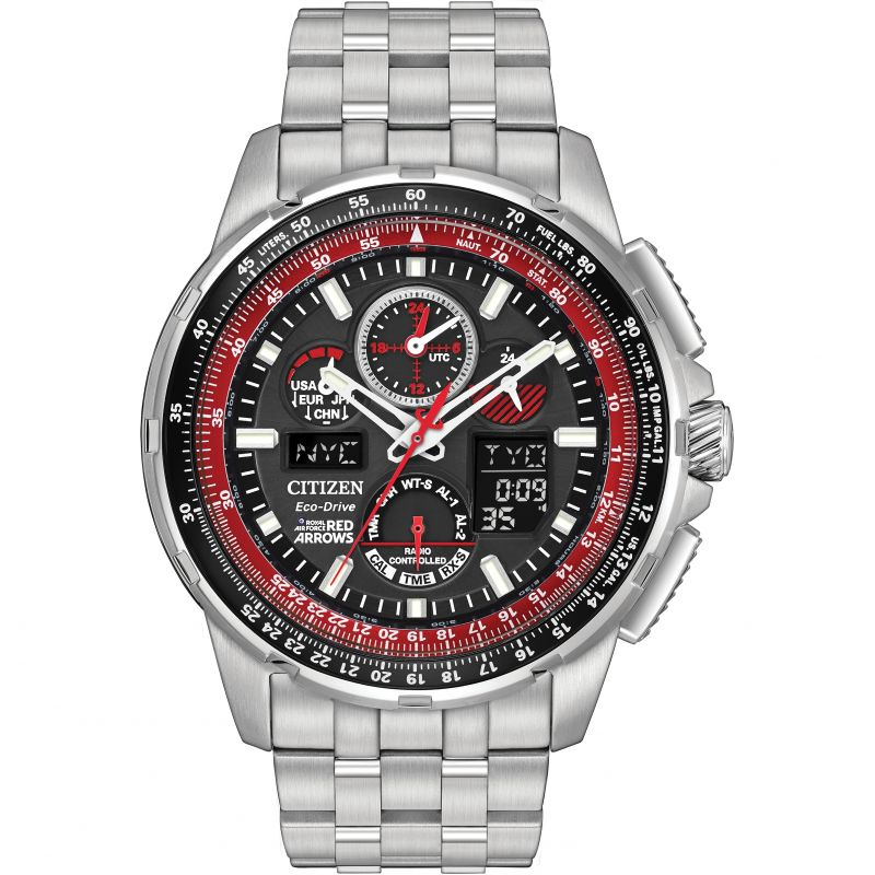 Mens Citizen Skyhawk A-T Red Arrows Alarm Chronograph Radio Controlled Eco-Drive Watch