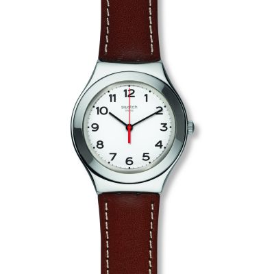 Swatch Strictly Silver Unisexklocka Brun YGS131