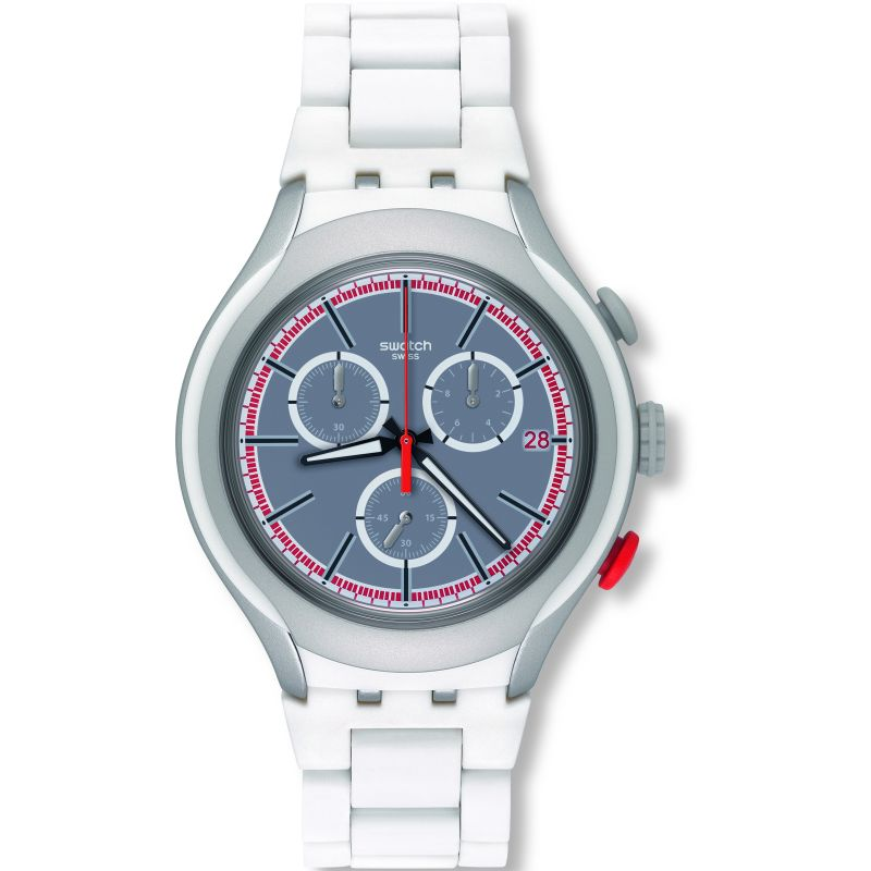 Unisex Swatch White Attack Chronograph Watch