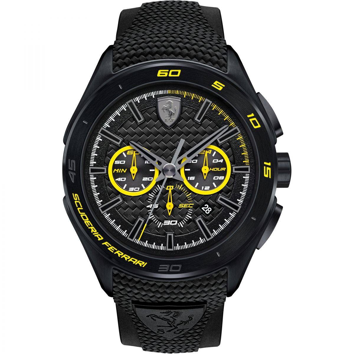 ferrari strap black silicone scuderia for normal watch in product mens yellow accessories men lyst s