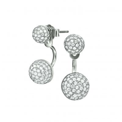 Ladies Folli Follie Sterling Silver Fashionably Silver Sparkle Ball Earrings 5040.2591