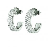 Ladies Folli Follie Sterling Silver Fashionably Silver Sparkle Mini Hoop Earrings 5040.2681