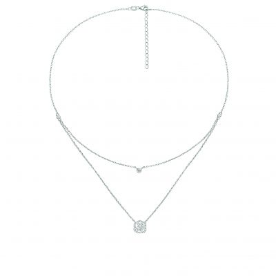 Ladies Folli Follie Sterling Silver Fashionably Silver Flower Blossom Double Chain Necklace 5020.3091