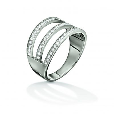 Folli Follie Dam Fashionably Silver 3 Row Crystal Ring Size L.5 Sterlingsilver 5045.6000