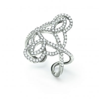 Gioielli da Donna Folli Follie Jewellery Fashionably Silver Swirl Ring Size N.5 5045.5986