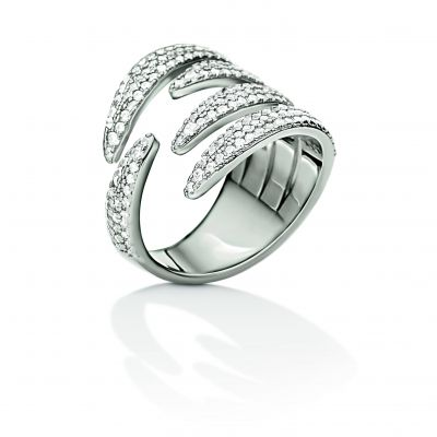 Gioielli da Donna Folli Follie Jewellery Fashionably Silver Wrap Sparkle Ring Size N.5 5045.6047