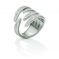 Ladies Folli Follie Sterling Silver Fashionably Silver Wrap Sparkle Ring Size N.5 5045.6047