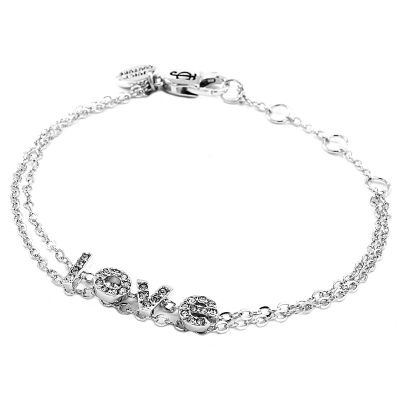Ladies Juicy Couture Silver Plated Layered In Couture Love Letters Chain Bracelet WJW68679-040