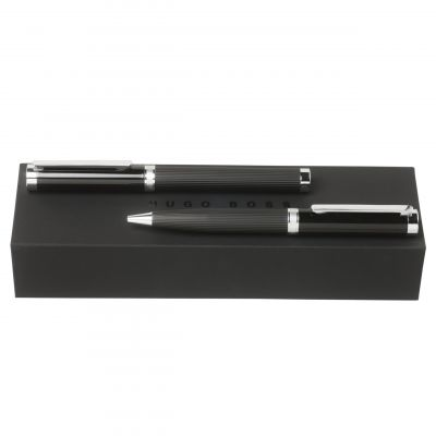 Hugo Boss Pens Base metal Column Dark Chrome Ballpoint & Rollerball Pen Set HPIR651