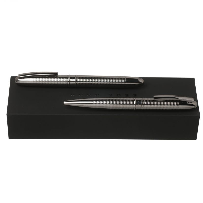 Hugo Boss Pens Base metal Stripe Dark Chrome Ballpoint & Rollerball Pen Set HPBR662D