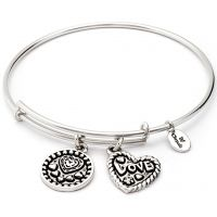 Ladies Chrysalis Silver Plated Thinking Of You Love Expandable Bangle CRBT0718SP