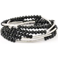 Ladies Chrysalis Silver Plated Obsidian Black Self Belief Elasticated Necklace/Bracelet Wrap CRWF0001SP-G