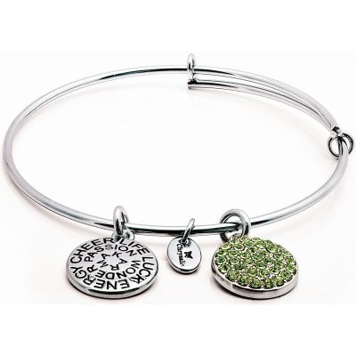 Ladies Chrysalis Silver Plated Good Fortune August Peridot Crystal Expandable Bangle CRBT0108SP