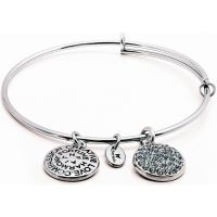 Ladies Chrysalis Silver Plated Good Fortune December Blue Topaz Crystal Expandable Bangle CRBT0112SP