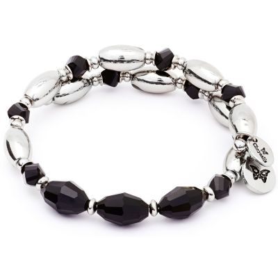 Ladies Chrysalis Silver Plated Gaia Fire Black Wrap Bangle CRBW0003SPBLAC