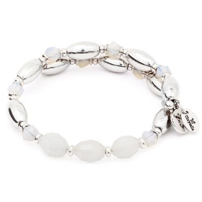 Ladies Chrysalis Silver Plated Gaia Fire Whtie Wrap Bangle CRBW0003SPWHIT