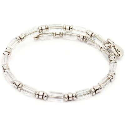 Ladies Chrysalis Silver Plated Ambition Gaia Water Crystal Wrap Bangle CRBW0004SPCRYS