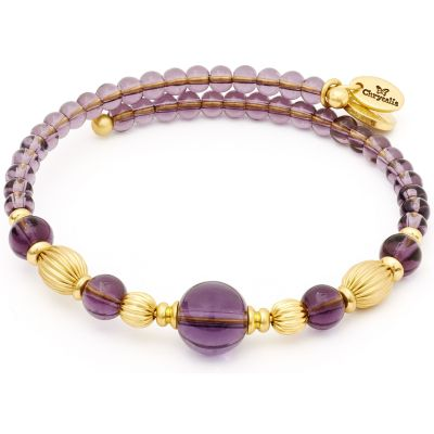 Ladies Chrysalis Gold Plated Gaia Summer Purple Wrap Bangle CRBW0006GPAMGL