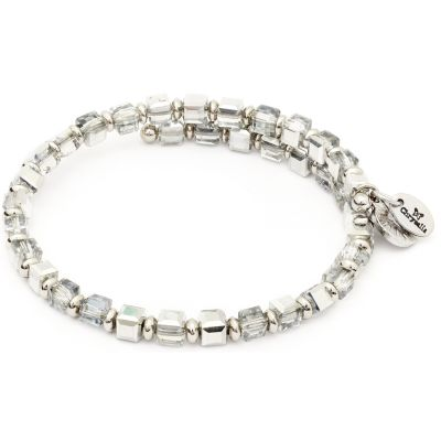Ladies Chrysalis Silver Plated Happiness Gaia Earth Crystal Wrap Bangle CRBW0007SPCRSI
