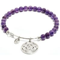 Ladies Chrysalis Silver Plated Happiness Chakra Amethyst Third Eye Bangle CRBH0706SP