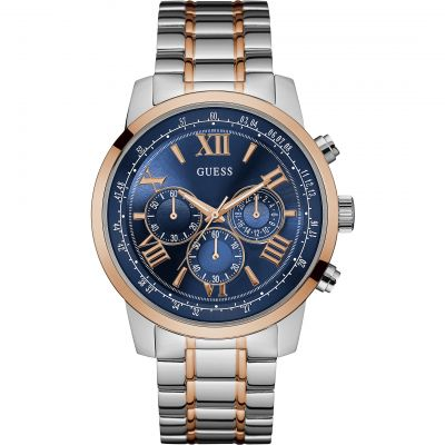 GUESS Men's silver watch with gold trim, blue chronograph dial, and rose gold and silver bracelet.