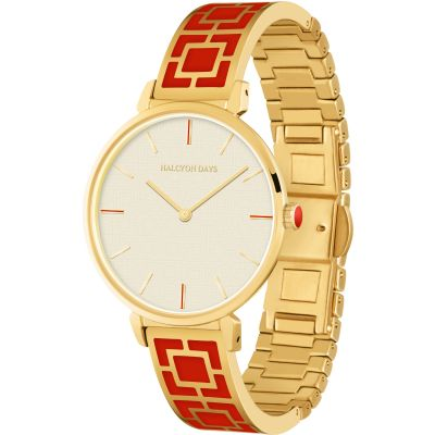 Maya Red & Gold Bangle Watch