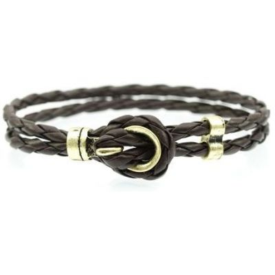 Mens Icon Brand Gold Plated Breach Brown Bracelet LE1165-BR-BRN