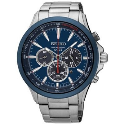 Mens Seiko Chronograph Solar Powered Watch SSC495P1