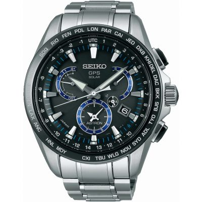 Mens Seiko Astron GPS Chronograph Solar Powered Watch SSE101J1