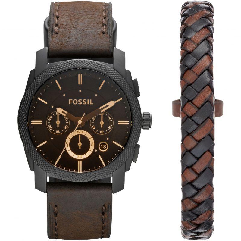 Mens Fossil Machine Gift Set Chronograph Watch